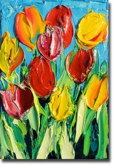 B. Sasik Original Oil Painting TULIPS Garden ART