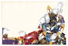 """Un maravilloso collage de la ilustradora Violeta Monreal. Se encuentra en nuestra habitación """"madroño""""."""