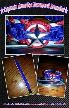 Here it is my version of captain america Paracord Bracelet Paracord Bracelets, Paracord Knots, 550 Paracord, Bracelet Knots, Boys Bracelets, Making Bracelets, Paracord Projects, Paracord Ideas, Armband