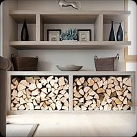 Handy wood storage and great shelving!