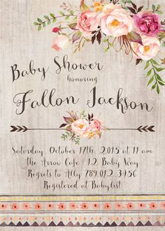 Baby Shower Invitation Printable Floral by INVITEDbyAudriana
