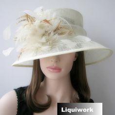 Ivory White Wide Brim Formal Wedding Bridal Dress Derby Hat for Women SKU-158065
