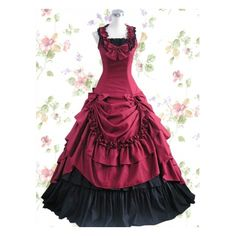 Bow ruffle cotton classic Lolita dress of dark red