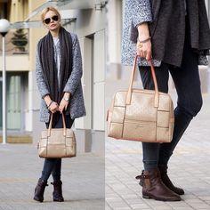 Sheinside Coat, Zara Pants, Guess? Bag, H&M Shoes, Yves Saint Laurent Sweater, Cruciverba Bijoux Brancelet