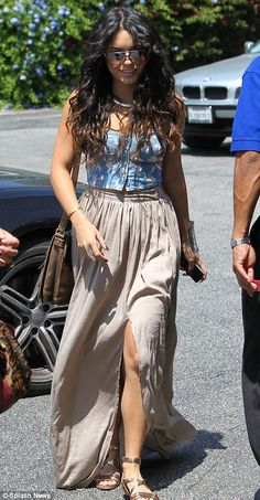 #VanessaHudgens #fashion #music and #movies   An early Mother's Day meal: Vanessa Hudgens wears bustier and split skirt for lunch with mother Gina