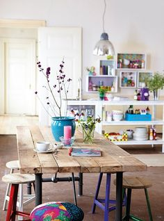 Beautiful rustic boho chic dining space. Love the repurposed timber table, eclectic stools and overall homely vibe.