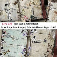 2017 Planner, Printable Planner Pages, 2017 Weekly Planner, Vintage Style, Planner Inserts, A5, Half Letter, Printable Planner, Calendar