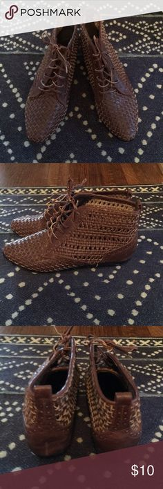 BDG by Urban Outfitters Booties BDG by Urban Outfitters Booties in a brown basket weave. Worn once!! BDG Shoes Ankle Boots & Booties