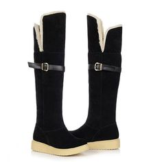 GOTTA HAVE Women Buckle Suede Two Wear Folded Cotton Padded Snow Boots