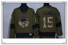 Men's Buffalo Sabres #15 Jack Eichel Green Salute To Service Stitched NHL Reebok Hockey Jersey