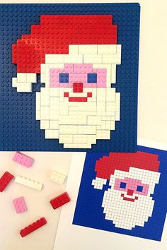 Lego Mosaics for Kids: 3 Printable Christmas Building Challenges - Lego Santa