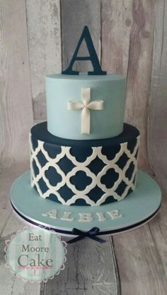 Boys blue Christening cake More