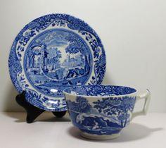 Spode 'Blue Italian' Tea Cup and Saucer England Italian Spode Design C.1816