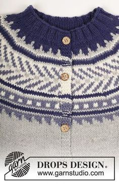 """Knitted DROPS jacket worked top down with round yoke and multi-coloured pattern in """"Merino Extra Fine"""". Size 3 - 12 years Free pattern by DROPS Design. Fair Isle Knitting Patterns, Sweater Knitting Patterns, Knit Patterns, Knitting For Kids, Free Knitting, Baby Knitting, Drops Design, Pull Jacquard, Knit Baby Sweaters"""