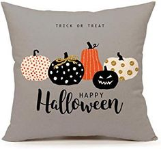 Emotion Halloween Pumpkin Throw Pillow Cover Cushion Case for Sofa Couch x Inch Cotton Linen(Trick or Treat) Plaid Throw Pillows, Throw Pillow Cases, Pillow Covers, Fall Pumpkins, Halloween Pumpkins, Halloween Treats, Happy Halloween, Halloween Pillows, Halloween Bedroom