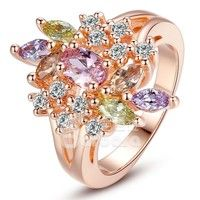 Barbara丨Women Jewelry 18K Rose Gold Plated AAA Multicolor Cubic Zircon Flower Finger Ring