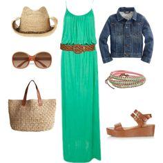Green maxi dress, jean jacket, brown accessories