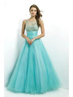 Scoop A-line/Stile Principessa Floor-length Perline Sequin Increspature Tulle Prom Dress