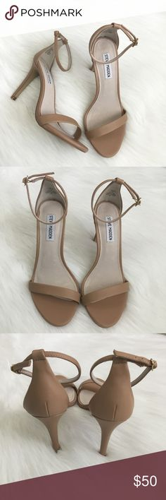 Steve Madden Stecy Nude Sandals Steve Madden Stecy Nude Sandals - classic nude sandal, ankle strap, 4in heel. Size 8.5W. In great pre-loved condition, only worn once, slight signs of wear on the inside and on the soles. No box. Steve Madden Shoes Sandals