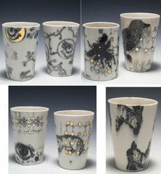 Katie Parker click now for info. Modern Ceramics, Contemporary Ceramics, Ceramic Painting, Ceramic Artists, Pottery Bowls, Ceramic Pottery, Clay Cup, Colored Vases, Ap Studio Art