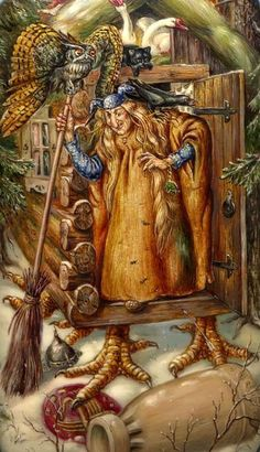 Baba Yaga: Lithuanian/Russian figure of regeneration. She is represented as the last sheaf of corn. As both young and old, she reawakens in us an awareness of time's ever-moving wheel, the seasons. Baba Yaga, Russian Folk, Russian Art, Illustrations, Illustration Art, Arte Horror, Halloween Art, Gods And Goddesses, Faeries