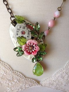 Repurposed vintage chippy door escutcheon necklace, vintage Lisner earring, Beaujewels, shabby, rustic, OOAK, unique spring jewelry, pink
