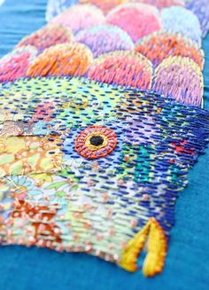 rainbow fish embroidery mixed media by KimikaHara - detail