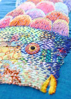 rainbow fish embroidery mixed media by KimikaHara - detail