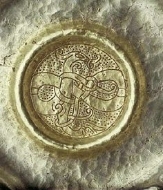 Silver Bowl from viking with animal ornamentation at the bottom, found in Gotland.