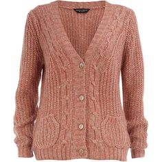 Pink twist cable cardigan ($21) ❤ liked on Polyvore featuring tops, cardigans, sweaters, outerwear, jackets, women, chunky cable knit cardigan, pink top, pink v neck cardigan and twist top