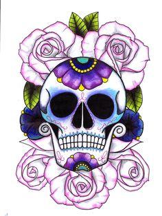 skull and roses tattoos | Bed of Roses - Sugar Skull Tattoo Deesign