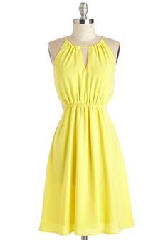 Cheer Comes the Sun Dress - Woven, Mid-length, Yellow, Solid, Cutout, Casual, Sundress, A-line, Sleeveless, Summer