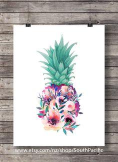 Printable art | Floral Pineapple | Aloha tropical island decor | Printable wall art | Hawaii beach | Pineapple decor | Housewarming gift