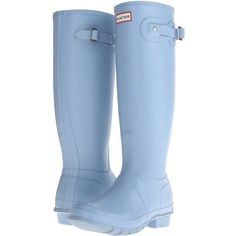 Hunter Original Tall (Blue Sky) Women's Rain Boots ($90) ❤ liked on Polyvore featuring shoes, boots, blue, knee-high boots, rain boots, hunter boots, platform boots, knee boots and blue knee high boots