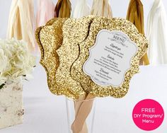 if you want to jazz it up with gold glitter accents, we have a few on our website. Here are gold glitter wedding menu cards that are also a fan, perfect for gold weddings and new years eve weddings