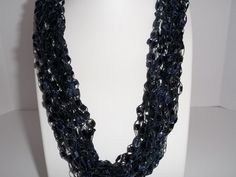 Navy Blue Lace Necklace Crochet Ladder Lace by DelsYarnBasket
