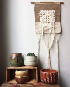One of my pieces in @secretwoolsociety's home. This piece hung around a long time both on my site and in a couple of shops and I'm so excited it found a home with such a lovely lady. This little vignette is so pretty. . . . #weaving #fiberart #fibreart #tissage #homedecor