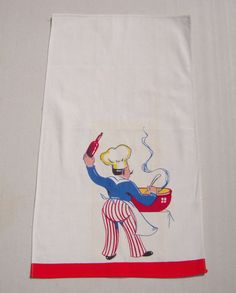 Vintage Towel Chef Adds the Wine by unclebunkstrunk on Etsy