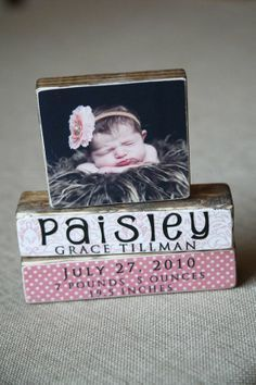 another cute photo + scrapbook paper + wood block idea... Somewhere In The Middle