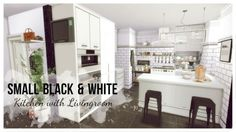 Dinha Gamer: Small Black & White Kitchen with Livingroom • Sims 4 Downloads