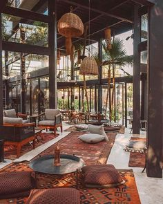 Habitas Tulum - Our clubhouse is your playground, a space to gather, share + create together ✨_ Coffee Shop Design, Cafe Design, House Design, Interior Architecture, Interior And Exterior, Interior Garden, Casas Club, Outdoor Restaurant, Restaurant Restaurant