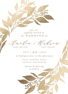 This Wedding Invite Features A Leafy Branch Frame And Simple Type. Brown Wedding Invitations From Minted By Independent Artist Alethea And Ruth. Wheat IFS. Foil Stamped Wedding Invitations, Wedding Invitation Design, Christmas Wedding Invitations, Digital Invitations, Event Invitations, Reception Card, Wedding Website, Wedding Cards, Wedding Events