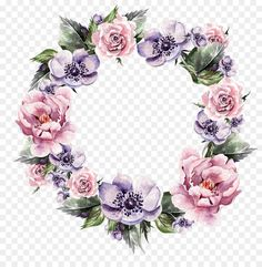 Flower Wreath Wedding invitation Garland Watercolor painting - Hand-painted garlands of flowers Flower Frame, Flower Art, Png Floral, Molduras Vintage, Watercolor Flower Wreath, Wreath Drawing, Pink And Purple Flowers, Floral Border, Grafik Design