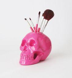 Skull Makeup Brush Holder Pink Skull Skull by hodihomedecor