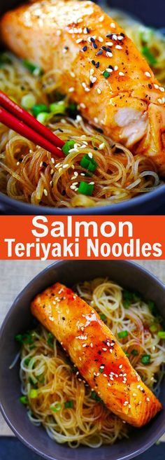 Salmon Teriyaki Noodles – moist and juicy salmon and rice noodles made with Tamari. Gluten-free, healthy family weeknight dinner | rasamalaysia.com