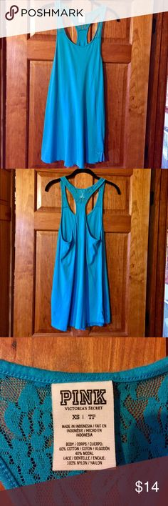 Pink Victoria's Secret Blue Tank XS Oversized PINK Victoria's Secret blue tank. Size XS. Excellent condition. Perfect for a beach cover up or lounge wear. PINK Victoria's Secret Tops Tank Tops