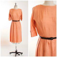 1950s Vintage Dress Peach Silk Pleated Skirt 50s by stutterinmama