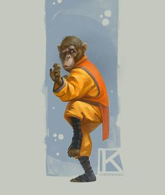 Kung Fu Monkey sketch, Kostya Chernianu on ArtStation at https://www.artstation.com/artwork/0Ed94 ★ Find more at http://www.pinterest.com/competing
