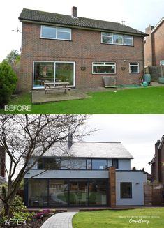 The boxy design of this house lent itself perfectly to a contemporary exterior transformation by Back to Front Exterior Design. This rear aspect shows an extension to the back of the property providing much-needed extra space. Bi-fold doors bring light into the ground floor and create a seamless blend between the landscaped garden and internal space. New windows and fresh white render complete the look. Click to see more transformations > #exteriordesign #homeinspiration #bifolddoors House Extension Plans, House Extension Design, Rear Extension, House Design, Rendered Houses, 1960s House, House Makeovers, House Extensions, House Front