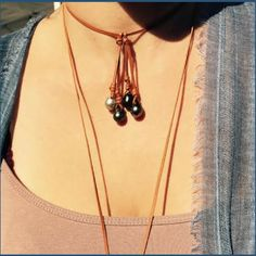 #Tahitian #Pearls on #Leather by http://www.leatheredpearls.com/
